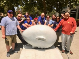 T-shirt Thursday- June 7, 2018 UC Davis librarians gathered today at Robert Arneson's iconic Bookhead in front of Shields Library to display solidarity during librarian contract bargaining.